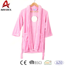 Kids bathrobe pink flannel fleece soft bath robe baby