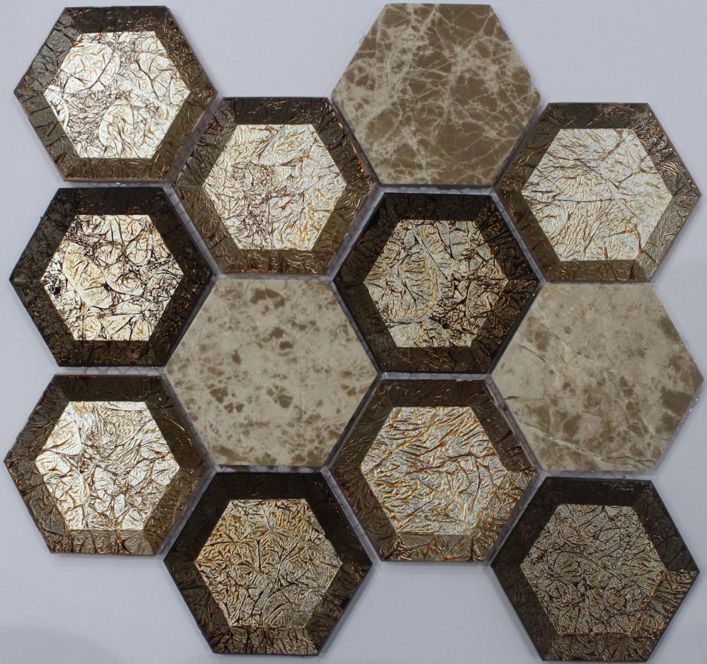 New Hexagon Golden Look Mosaic Tile