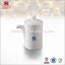 Olla de salsa de soja blanca de porcelana, vajilla de cerámica para salsa