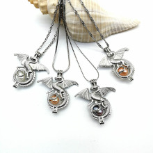Freshwater Pearl Locket Dragon Pendant Necklace