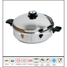 Stainless Steel Flat Pan Frypan Low Pot Cookware