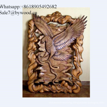 Home decoration  handmade wall hanging carved eagle   wood wall paneling in Russian market
