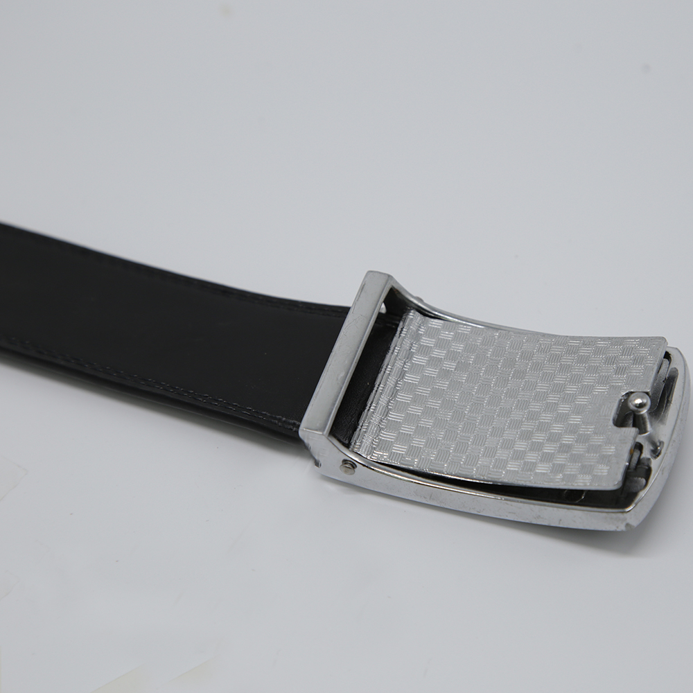 Men's Cowhide Leather Belt With Square Plate Buckle