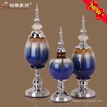 2016 nouveau fleur de vase design avec du matériel en verre en métal pour les ornements de Noël