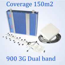 27dBm de potencia doble banda 900 / 2100MHz repetidor de señal móvil, 3G WCDMA GSM Booster