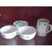 Keramik 3in1 Schüssel 3 Comparts Keramikschale