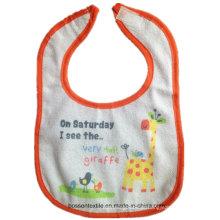 Babete de bebê personalizado de algodão Terry promocional com estampa de velcro branco à prova d'água