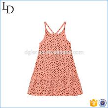 Peach Pink Mini 100% algodón vestido de bebé hombro simple vestido de impresión