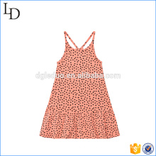 Персик розовый мини 100% хлопок детское платье плечо простое ситцевое платье