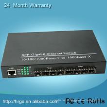 8 portas gigabit sfp switch 1000 Mbps de fibra óptica para cat5 conversor