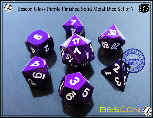 Bescon Gloss Purple Finished Solid Metal Dice Set of 7-3