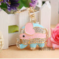 Korean rhinestones cute elephant multi-color metal enamel Keychain bag hanger pendant animal shape key ring factory price