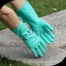 SRSAFETY 2014 new green industry nitrile longer gloves