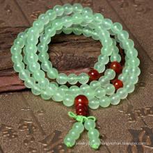 2015 Gets.com 108 Perlen japa mala, Natürliche Prehnite, mit rotem Achat, rund, 4-strangig