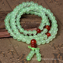 2015 Gets.com 108 perles japa mala, Prehnite naturelle, avec l'agate rouge, rond, 4 brin