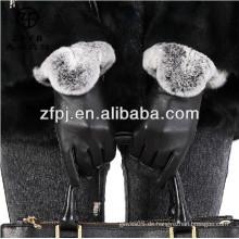 2016 New Style Damen superior Leder Mode Handschuhe mit Rubin Pelz