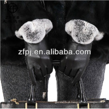 2016 Luvas de moda superior do couro das mulheres novas do estilo com pele do rubbit