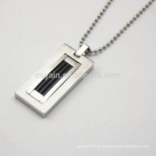 Rectangle Anhänger Edelstahl Kugelkette Halskette für Männer