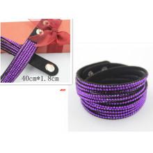 40cm Black Leather Crystal Jewelry Adjustable Snap Bracelet