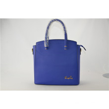 Blue Color Oil Wax Leisure Design Vintage Real Leather Handbag