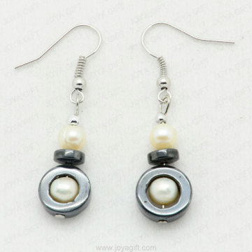 hematite earring with pearl