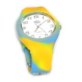 fashion color mixture silicone quartz watch