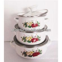 3 pcs enamel mimi casserole with flower decal