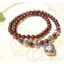 Natural Garnet Beads Bracelet with Silver Charm (BRG0051)