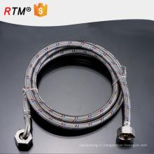 J10 tricoté en acier inoxydable tuyau flexible pour les lavabos tuyau d'entrée tuyau d'eau en acier inoxydable tuyau double tressé tête
