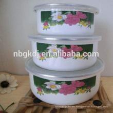 bowl de esmalte personalizado y tapas de PE y belleza y simplemente calcomanía