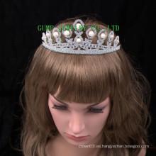 Tiaras de cristal de la boda de la corona del Rhinestone de la tiara de la perla