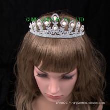 Pearl Tiara Rhinestone Crown Wedding Tiaras en cristal
