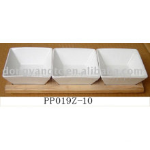 Wholesale white dinner ceramic plates with wood