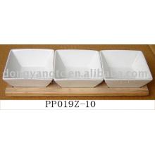 Оптовая белый ужин керамические пластины с дерева