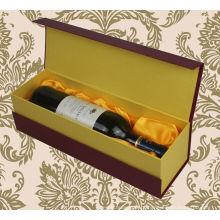 Caixa luxuosa do bloco da garrafa de vinho do estilo do vestuário do cartão, caixas por atacado do vinho do cartão, caixas de empacotamento