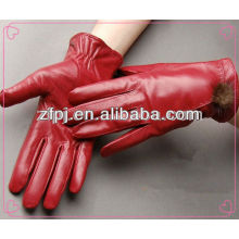 2014 winter red sheepskin leather gloves with fur lining