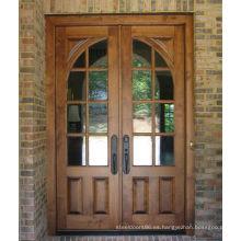 Puerta de madera de la entrada del precio barato pintada doble de la nuez, puertas de madera de la entrada principal