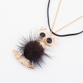 Fashion gold metal owl real fox fur ball pendant necklaces Black Rhinestone Eyes Gentlewomen Chain Pendant Necklaces