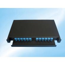 Marco de distribución de fibra óptica deslizable y montaje en bastidor de 24 fibras