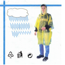 Disposable PE Waterproof Transparent Plastic Raincoat for Promotion Use