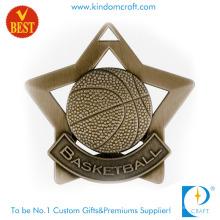 Benutzerdefinierte antike Bronze Sterne Umriss 3D Design Basketball Medaille in guter Qualität