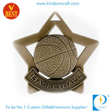 Custom Antique Bronze Star Outline 3D Design Basketball Medal in Good Quality