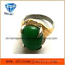 Joyería de moda de acero inoxidable piedra verde anillo de fundición