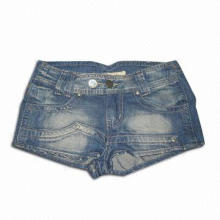 Ladies' Short Jeans, Made of Cotton, with Brass Button and Rivet