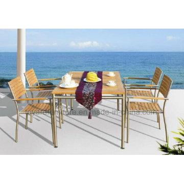 Mesa de jantar ao ar livre e mobília cadeira-teca