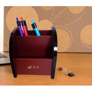 Office desk wooden business card holder pen holder