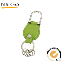 Double Ring Rivet Keychain with Green Leather Color (Y02551)