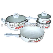 enamel saucepan set with bakelite handle