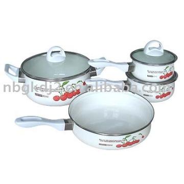 enamel saucepan set with bakelite handle