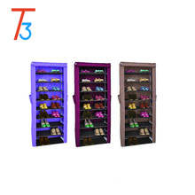 9 tiers Fashion Sliding Door Fabric modern Shoe Rack Cabinet With Side Pocket